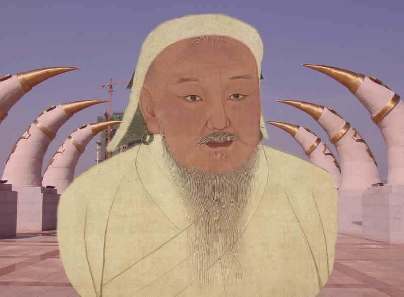 Monumento a Gengis Kan con retrato súperpuesto
